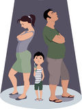 Divorce hurts children. Two parents fighting and ignoring a little boy, vector illustration Royalty Free Stock Images