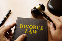 Divorce Law concept. Divorce Law on a court table stock photo