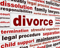Divorce legal words poster design Stock Image