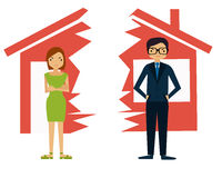 Divorce. Man and woman divide house Royalty Free Stock Photo