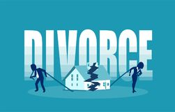 Divorce and marriage problems vector concept. Man and a woman are dragging apart their half of the house stock illustration