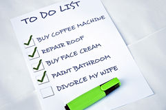 Divorce my wife. To do list with Divorce my wife Stock Image