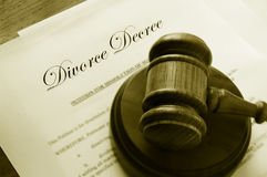 Divorce papers and gavel Royalty Free Stock Photos