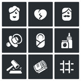 Divorce of parents, education the child, alimony payments icons set. Vector Illustration. Royalty Free Stock Photos