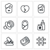 Divorce of parents, education the child, alimony payments icons set. Vector Illustration. Stock Images