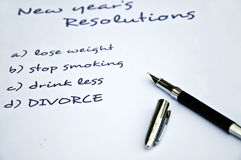 Divorce resolution. Of the new year Stock Photos