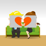 Divorce. Sad young couple holding billboard sign with break love heart, concept for Royalty Free Stock Photo