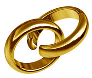 Divorce and separation. Symbol represented by two linked gold rings that has a break in the union showing the sad result of a broken relationship and break up Stock Images