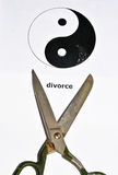 The divorce and separation. A symbolic representation of the decay of a pair of men and women Royalty Free Stock Images