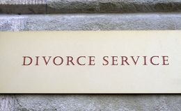 Divorce Service. Sign advertising lawyer's services for divorce Stock Photos