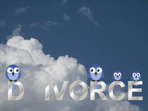 Divorce text. Representation of divorce or family break up against a cloudy blue sky Stock Images