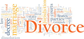 Divorce word cloud. Word cloud concept illustration of divorce marriage Royalty Free Stock Photography