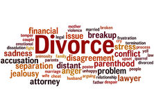 Divorce, word cloud concept 2. Divorce, word cloud concept on white background Stock Image
