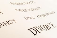 Divorce word. Conceptual background of divorce and its problems Royalty Free Stock Photography