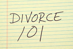 Divorce 101 On A Yellow Legal Pad Stock Images
