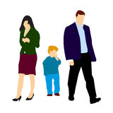 Divorced couple and lonely child. Vector illustration of separate couple after divorce, and sad son in the middle. editable vectored file available Royalty Free Stock Photo