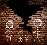 Divorced family concept. Family of stick figures on broken brick wall -- divorce or separation concept royalty free stock image