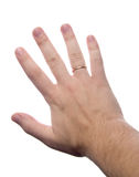 Divorced-married. Hand with golden ring Stock Photos