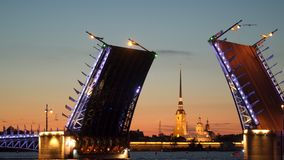 Divorced Palace Bridge and Peter and Paul Fortress. Night. St. Petersburg stock footage