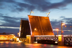 Divorced Palace bridge, white june night. Saint Petersburg Royalty Free Stock Photography