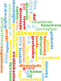Divorcee multilanguage wordcloud background concept Royalty Free Stock Image