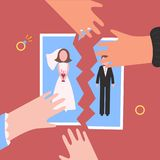 Divorcement. Man and womantear apart wedding photo. Divorcement. Man and woman hands tear apart wedding photo. Break up of relationship. End of family life Stock Photography