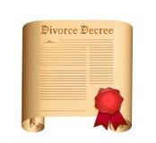 Divorzi il vecchio rotolo del decreto con una guarnizione bagnata Immagine Stock