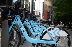 Divvy bike rental station in downtown Chicago, side view Royalty Free Stock Image
