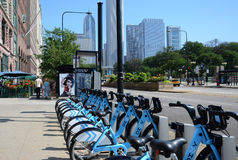 Divvy bike rental station on Michigan Avenue, Chicago Royalty Free Stock Photography