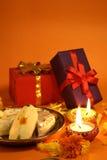 Diwali礼品和甜点 库存照片