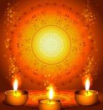 diwali节日的背景与灯 免版税库存照片