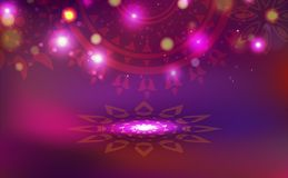 Diwali, świętowanie, dekoracja z kwiecisty mandala tekstury Hinduskim kreatywnie stylem, lekkiego błyszczącego festiwalu tła abst royalty ilustracja