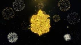 Diwali πυροτεχνήματα επίδειξη Λόρδου Ganesh Written Gold Particles διανυσματική απεικόνιση