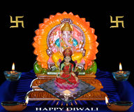 Diwali. Ganesh and lakshmi images in traditional lamps for diwali worship Stock Images