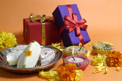 Diwali. Decoration, colorful lamps, gifts and sweets Royalty Free Stock Images