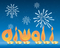 Diwali. An illustration of flames spelling the word diwali in asian gold candle holders with a backdrop of a starry night sky and fireworks Stock Photo