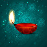 照亮印度节日背景的美丽的diwali迪雅 免版税图库摄影