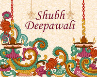 Diwali adornó diya libre illustration