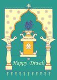 Diwali adornó diya en el soporte de la planta de Tulsi para el festival ligero de la India en estilo indio del arte