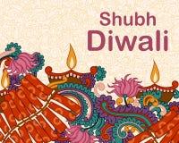 Diwali adornó diya y el fircracker