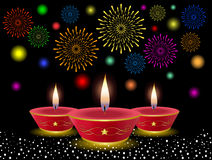Diwali Background. With Decorative Lamps & Fireworks