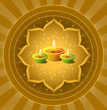 Diwali Background. Glowing Diwali On Sparkling Lotus Background Royalty Free Stock Photo
