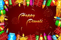 Diwali Background. Illustration of diwali background with colorful firecraker