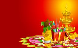 Diwali Background. Illustration of decorated diwali diya with gift box and sweet Stock Image