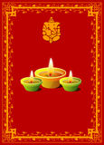 Diwali Background. With Decorative Border & Lamps Stock Images