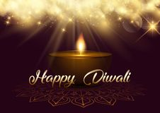 Diwali background with bokeh lights and lamp. Diwali background with bokeh lights and oil lamp royalty free illustration