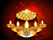 Diwali Background With Deepak Set Stock Image