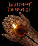 Diwali Background with Diya in Hands Royalty Free Stock Images