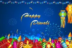 Diwali Background. Illustration of Diwali background with colorful firecracker Royalty Free Stock Photos