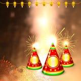Diwali bakgrund med den färgrika firecrackeren Royaltyfri Foto